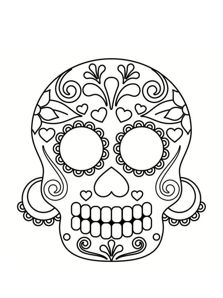 Coloriage Tête De Mort Mexicaine : 20 Dessins À Imprimer à Tete De Mort A Colorier