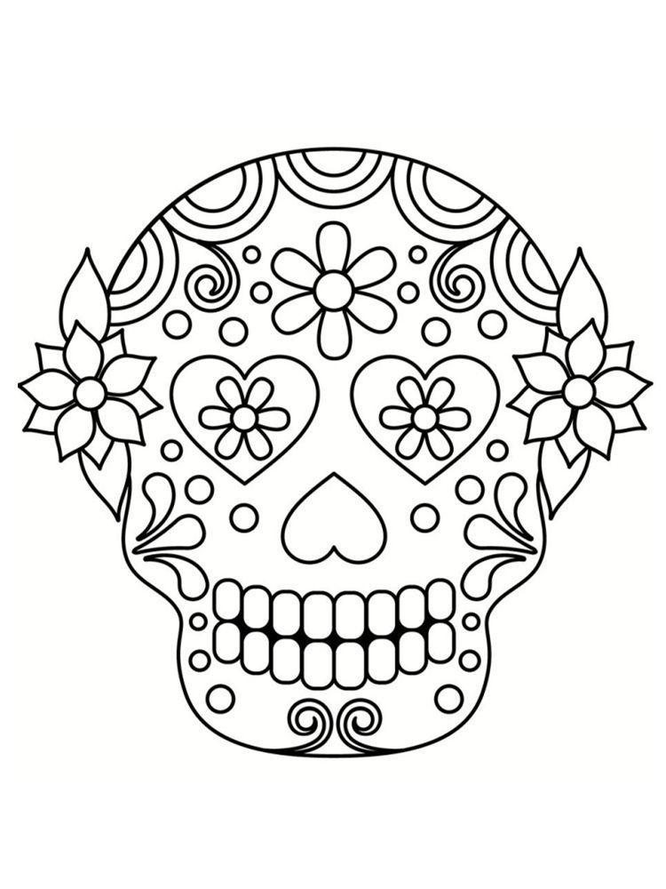 Coloriage Tête De Mort Mexicaine : 20 Dessins À Imprimer dedans Tete De Mort A Colorier