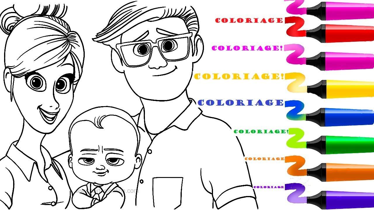 Coloriage The Boss Baby Et Sa Famille | Dessin Et tout Coloriage Baby Boss A Imprimer