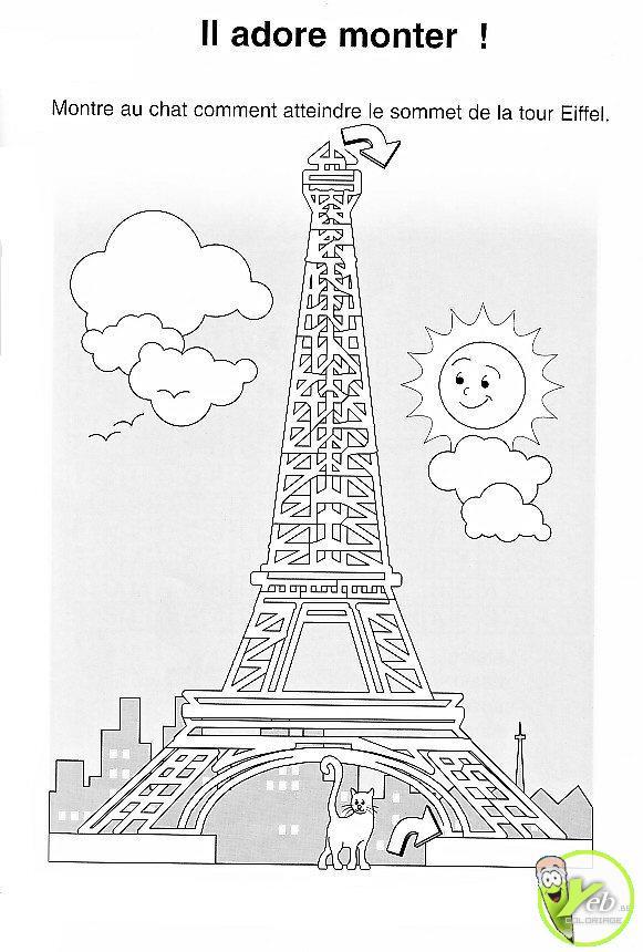 Coloriage Tour Eiffel Gratuit pour Tour Eiffel À Imprimer
