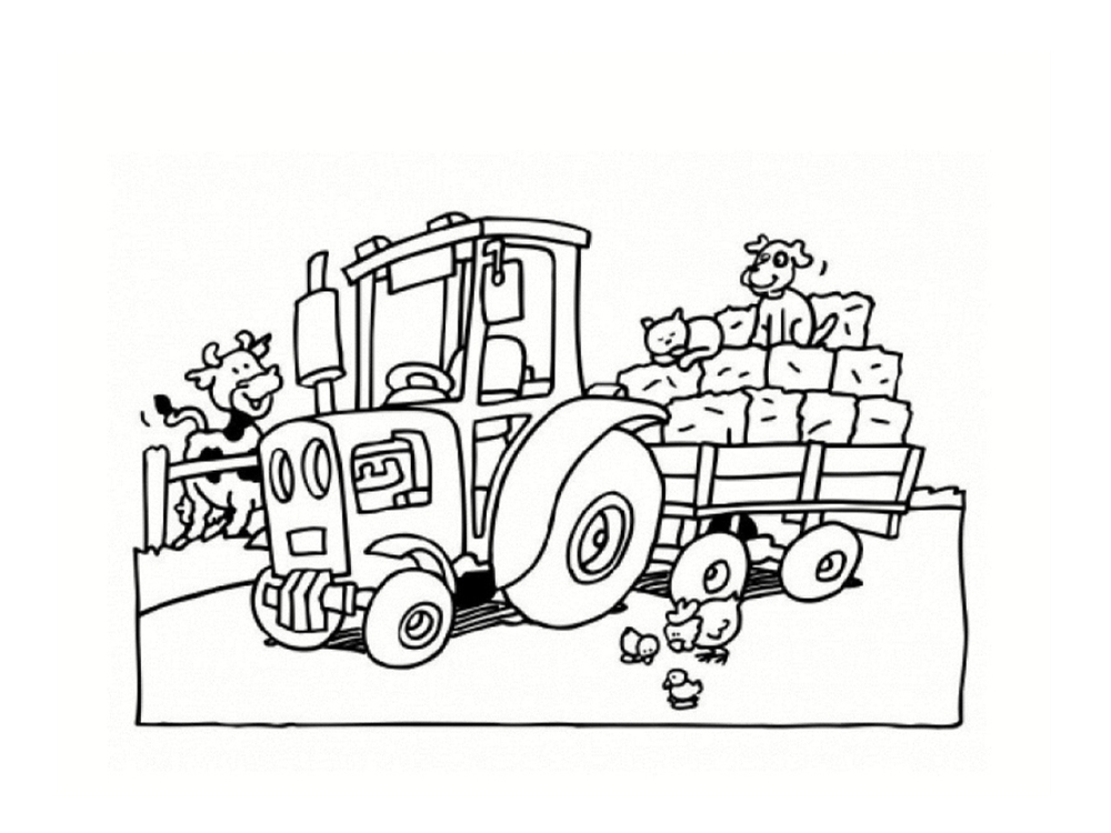 Coloriage Tracteur Avec Pelle Et Remorque à Coloriage De Tracteur À Imprimer