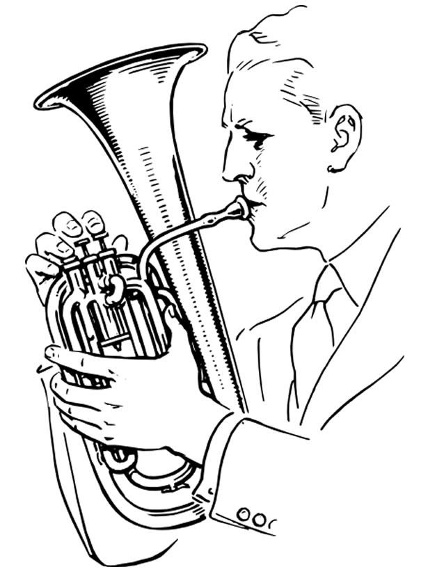 Coloriage Tuba À Imprimer Gratuitement tout Coloriage Instrument De Musique