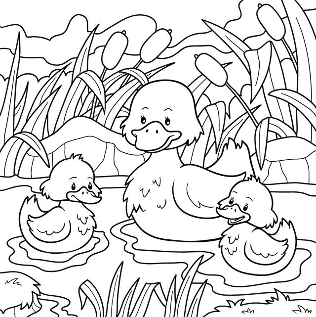 Coloriage, Un Canard Et Ses Canetons - Lulu La Taupe, Jeux destiné Coloriage A L Eau