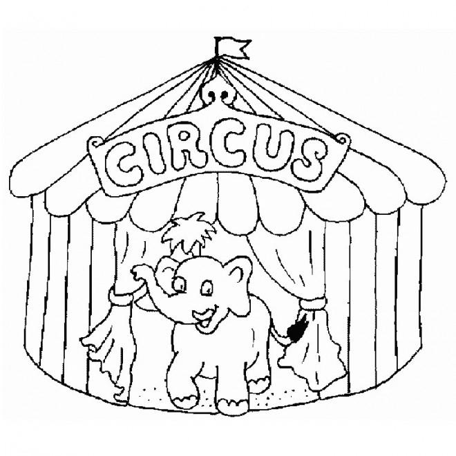 Coloriage Un Éléphant Qui Sort De Chapiteau Du Cirque concernant Dessin Animaux Elephant De Cirque