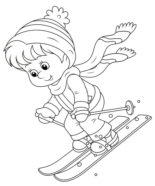 Coloriage, Un Enfant Qui Skie - Tipirate pour Dessin Enfant A Colorier