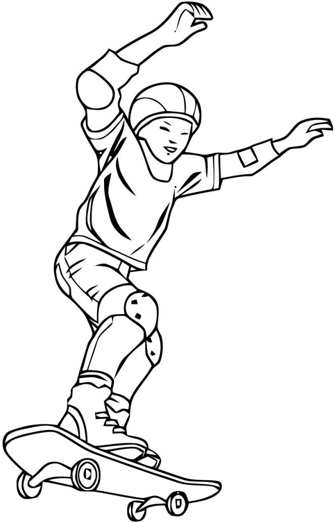 Coloriage Un Garçon Joue Au Skate Dessin Gratuit À Imprimer avec Dessin À Colorier Garçon