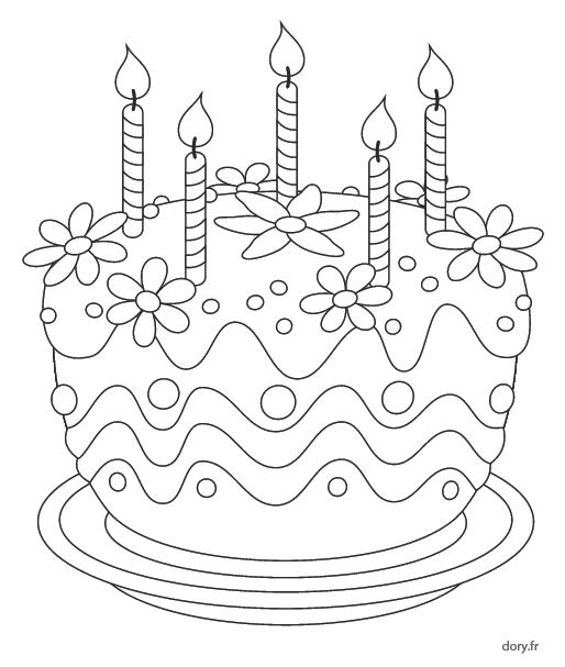 Coloriage, Un Gâteau D'Anniversaire 5 Ans - Dory.fr Coloriages pour Gateau D Anniversaire À Imprimer