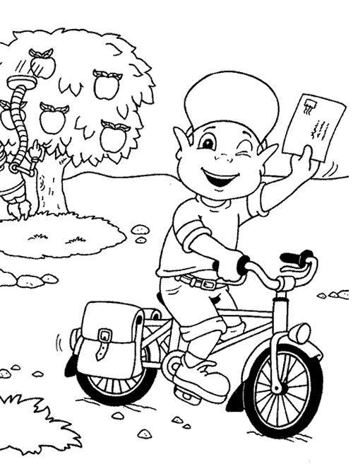 Coloriage Un Jeune Facteur À Vélo Dessin Gratuit À Imprimer concernant Dessin Facteur