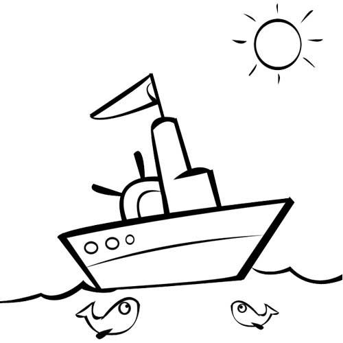 Coloriage Un Paysage D'Un Bateau De Pêche Dans La Mer tout Dessiner Un Bateau De Peche