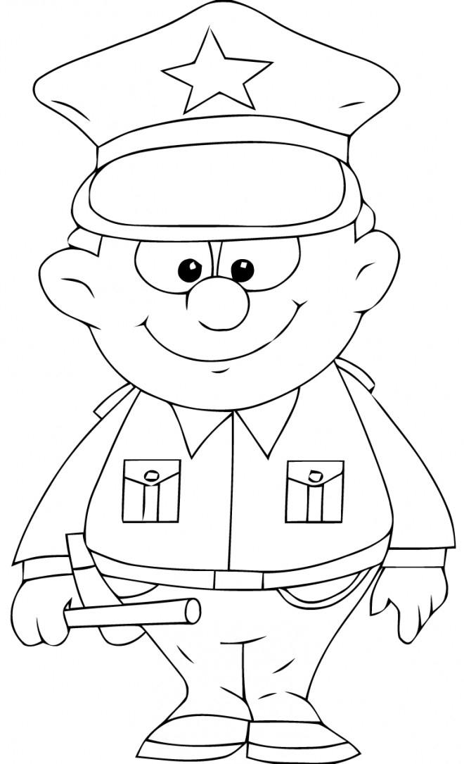 Coloriage Un Policier Porte Un Uniforme Américaine intérieur Coloriage Voiture De Police