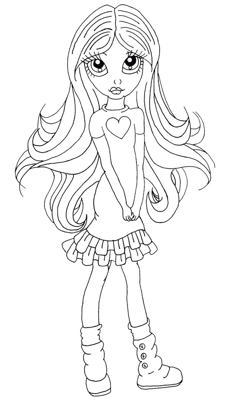 Coloriage Une Fille Avec De Longs Cheveux À Imprimer destiné Coloriage À Imprimer De Fille