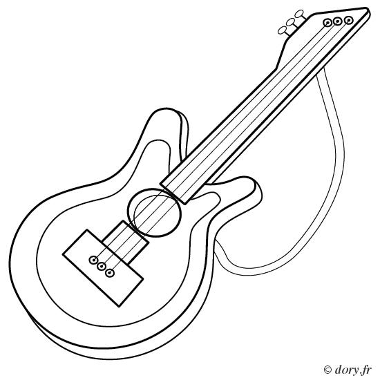 Coloriage, Une Guitare - Dory.fr Coloriages dedans Coloriage Guitare