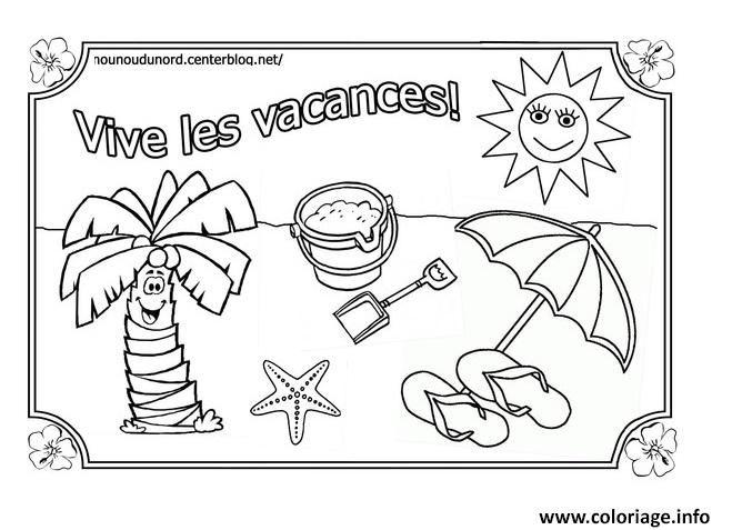 Coloriage Vacances Ete Vive Les Vacances Ete Dessin À dedans Coloriage Été Maternelle