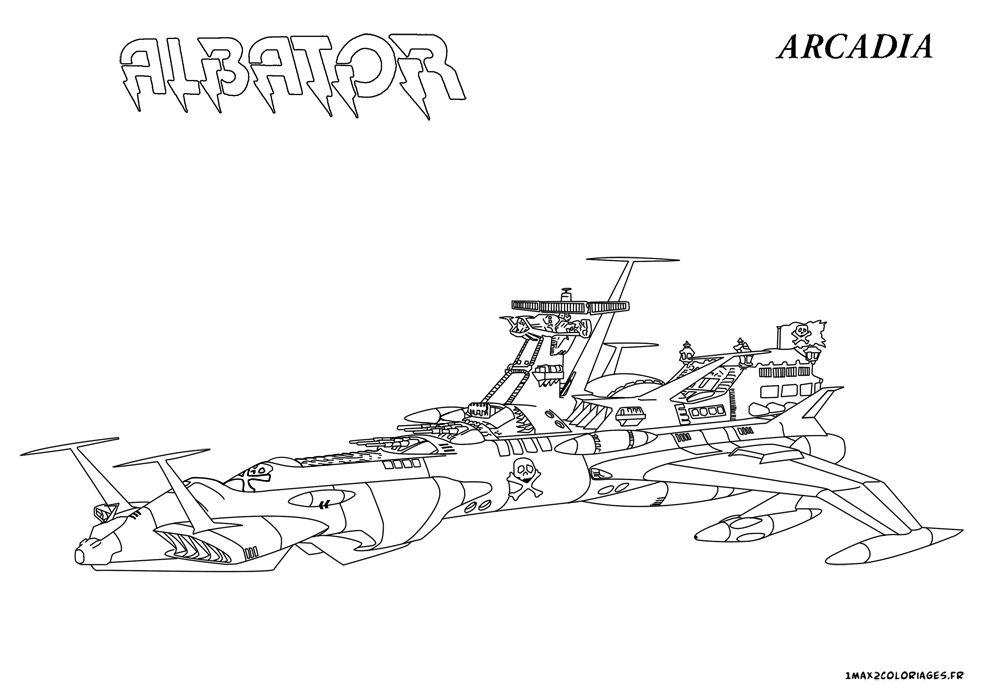 Coloriage Vaisseau Arcadia Albator | Albator, Coloriage concernant Vaisseau Star Wars Coloriage