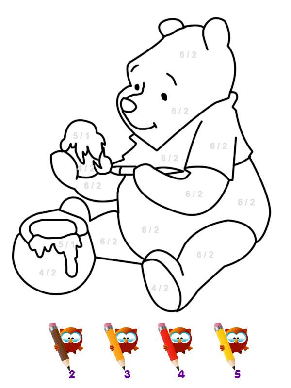 Coloriage Winnie Et Son Miel - Coloriages Magiques pour Coloriage Winnie L Ourson À Imprimer