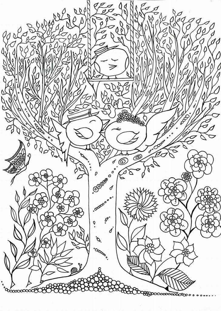 Coloriage Zen Adulte Les Zoziaux De Leen Margot À Imprimer pour Coloriages Zen