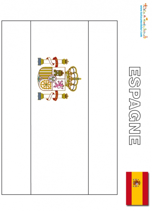 Coloriage204: Coloriage Drapeau Espagne pour Drapeau A Imprimer