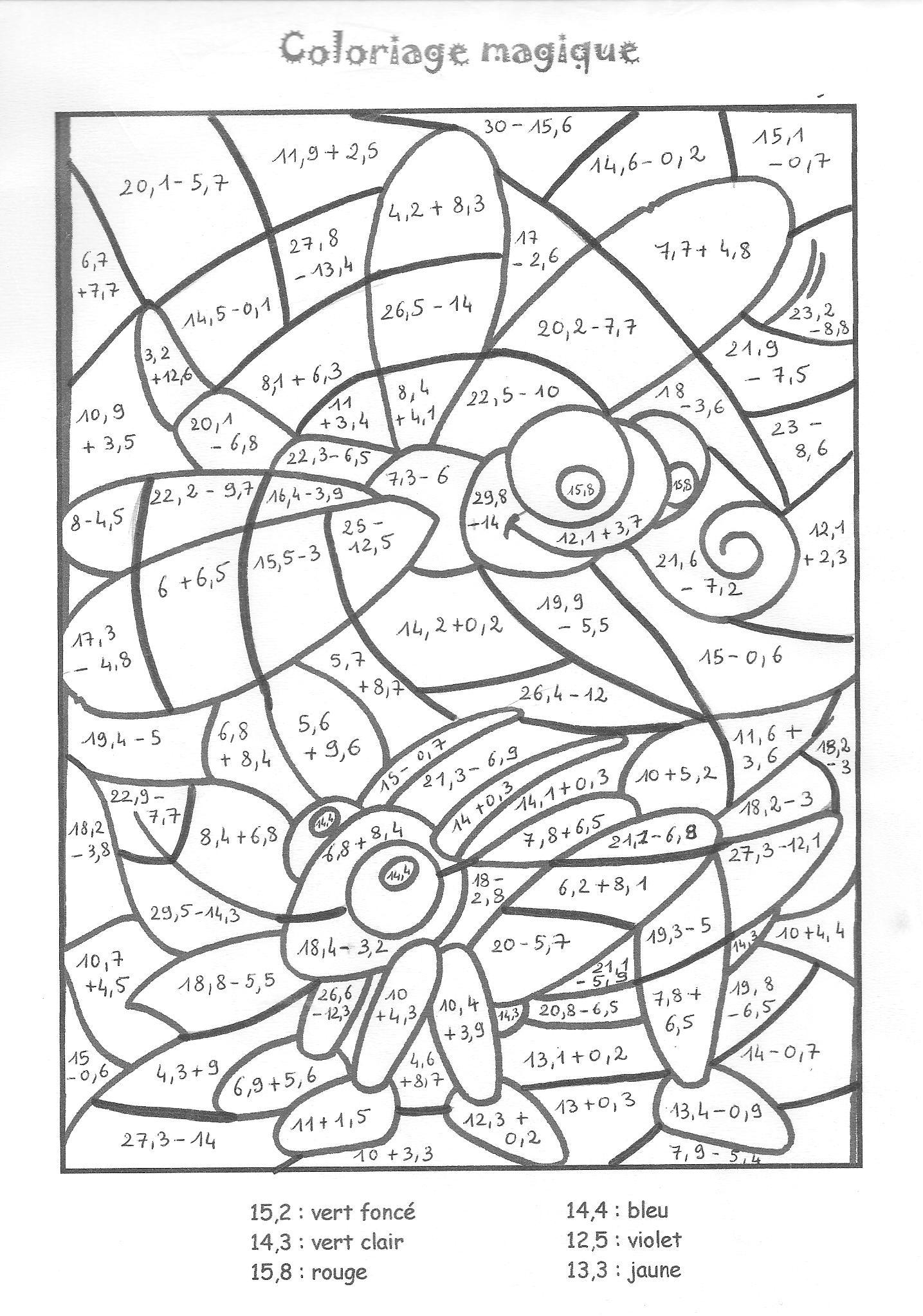 Coloriage204: Coloriage Magique Nombres Décimaux concernant Coloriage Avec Calcul