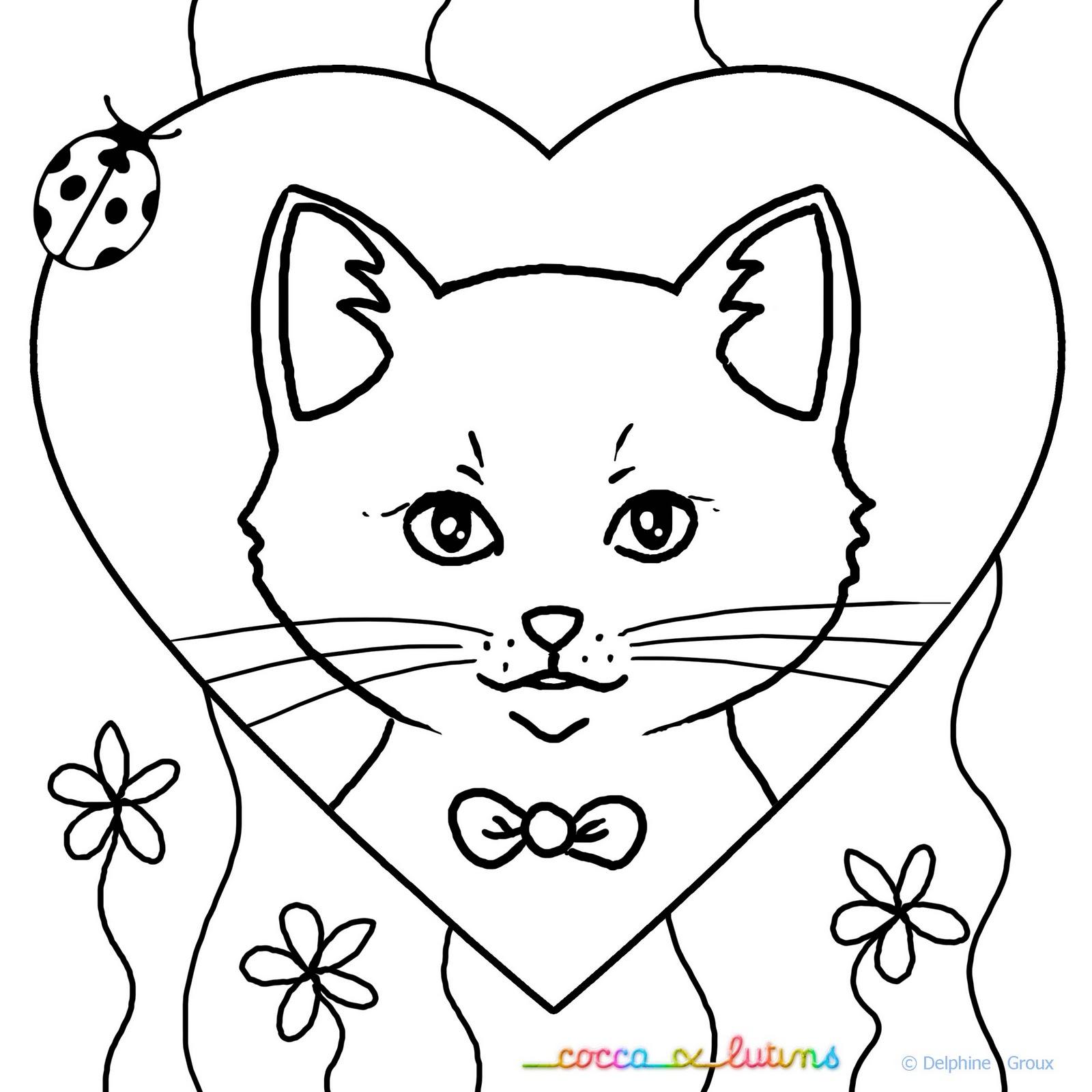 Coloriages À Imprimer : Chat, Numéro : 682627 encequiconcerne Coloriage De Chat À Imprimer