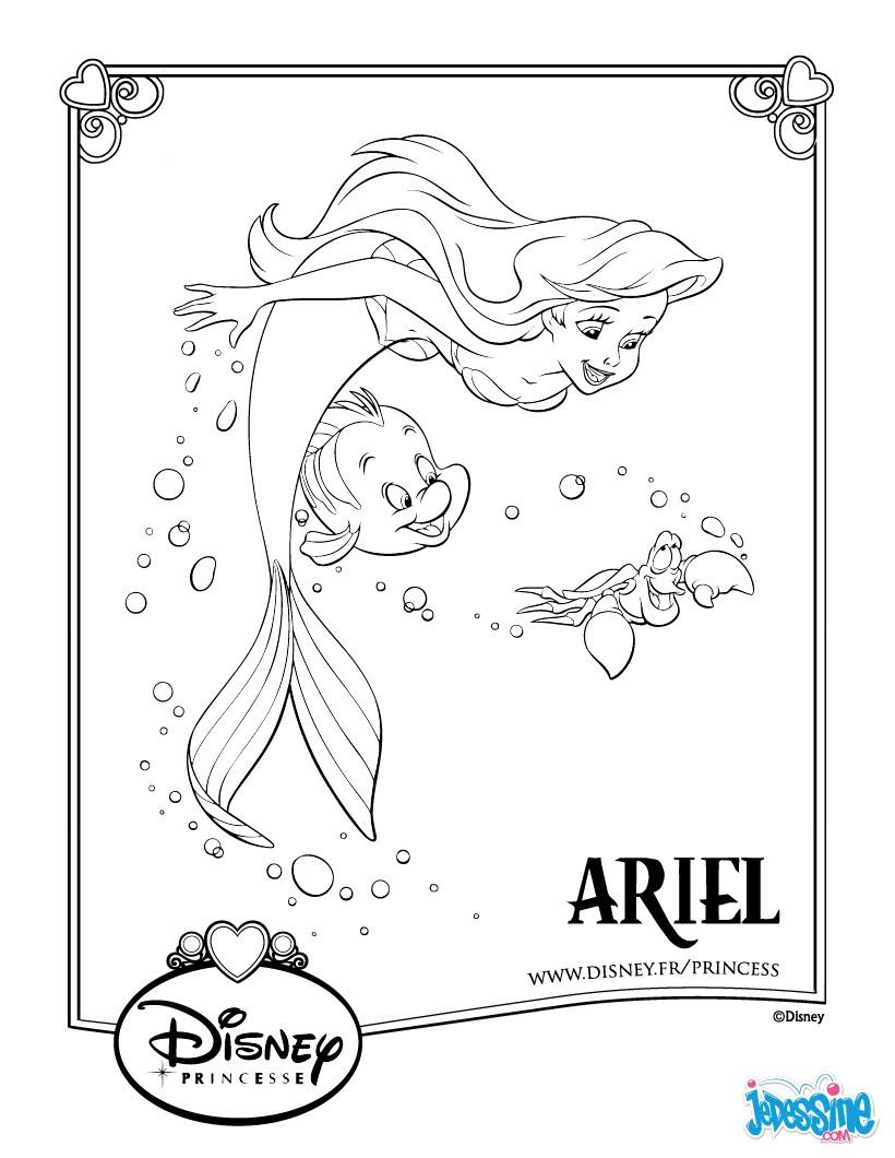 Coloriages Ariel Et Polochon - Fr.hellokids serapportantà Dessin A Imprimer Arielle La Petite Sirene
