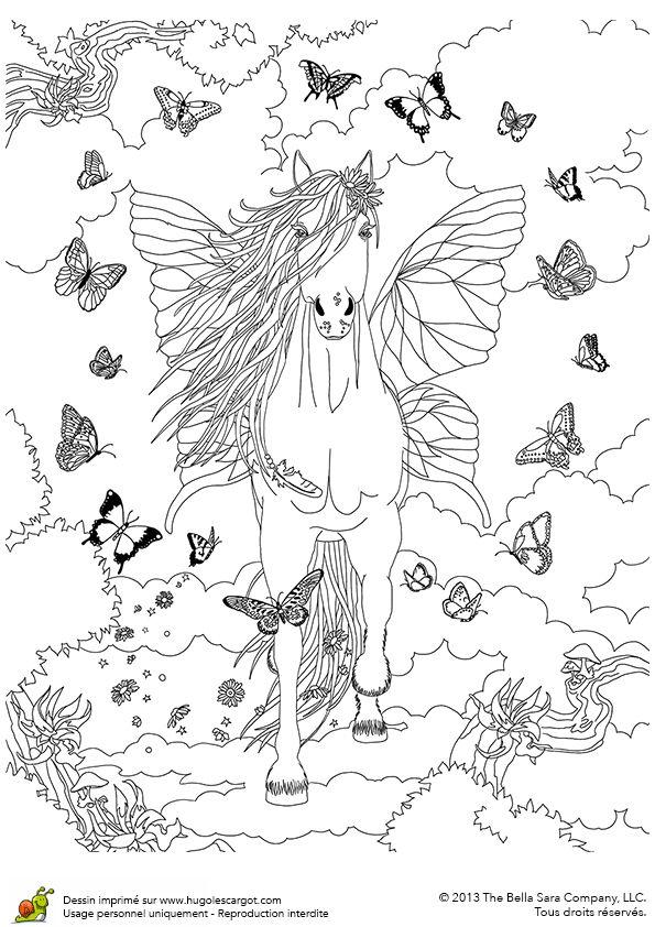 Coloriages Bella Sara Cheval Papillon | Coloriage concernant Dessin Forêt À Imprimer