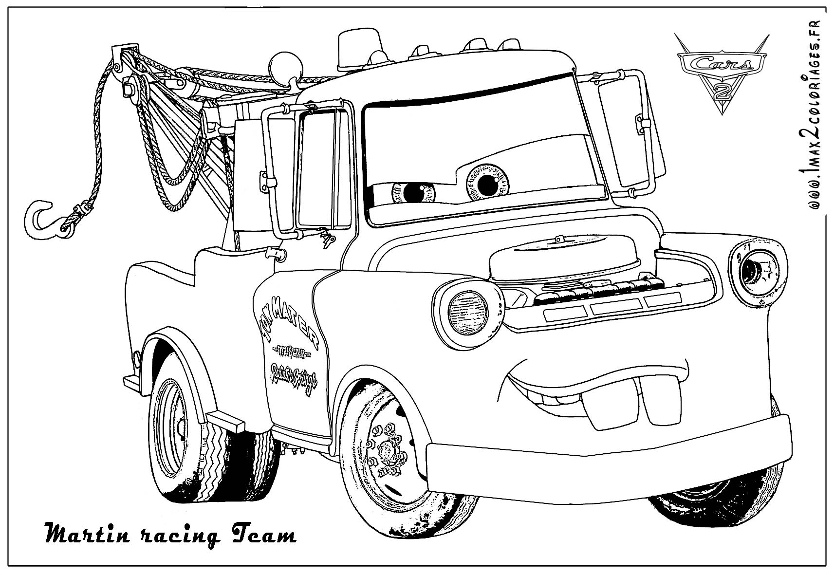 Coloriages Cars 2 - Martin Racing Team - Coloriages Les encequiconcerne Coloriage Flash Mcqueen