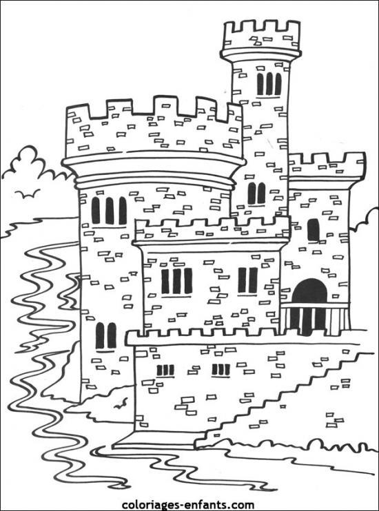 Coloriages-Chateaux-Forts-02Coloriages-Chateaux-Forts pour Dessin Chateau Moyen Age