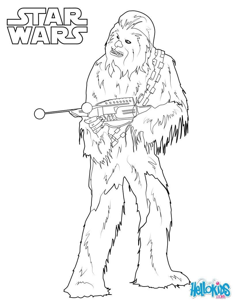 Coloriages Chewbacca, Le Wookie - Fr.hellokids à Star Wars Dessin À Colorier