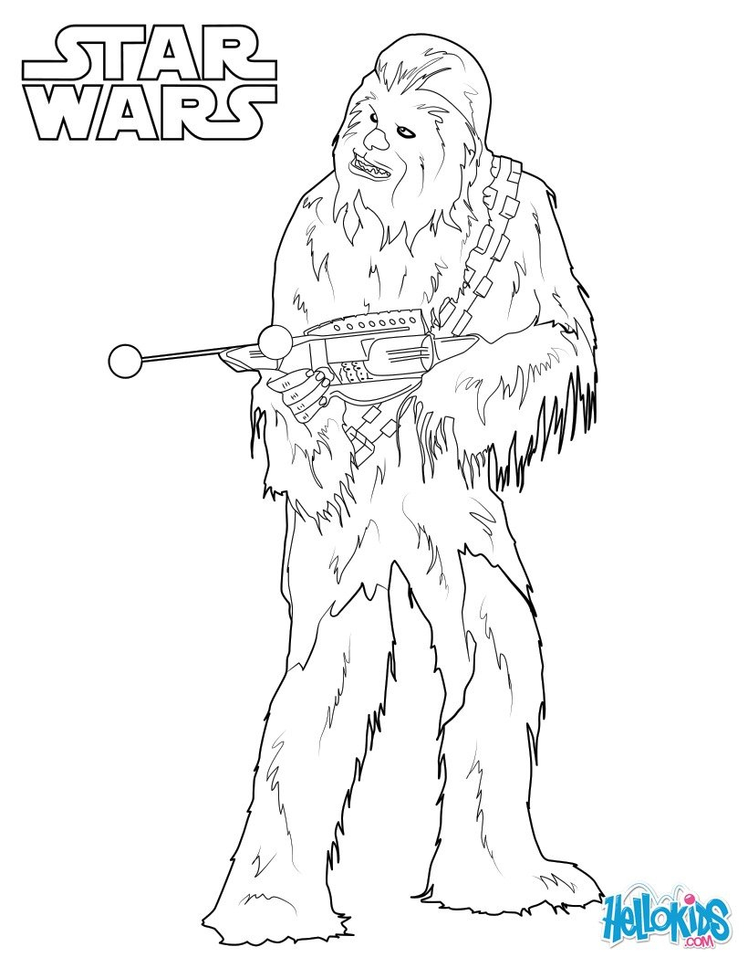 Coloriages Chewbacca, Le Wookie - Fr.hellokids concernant Star Wars Dessin A Colorier