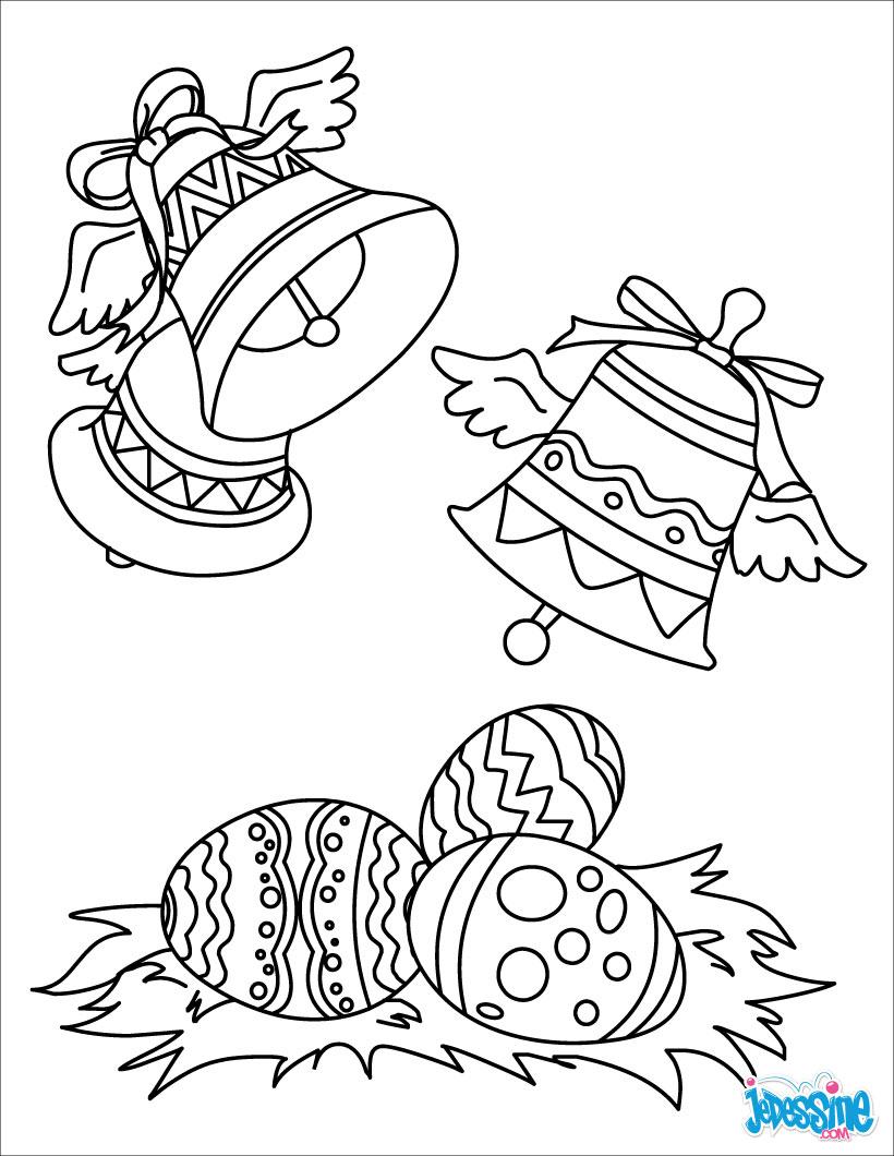Coloriages Cloches De Pâques - Fr.hellokids destiné Dessin De Paque