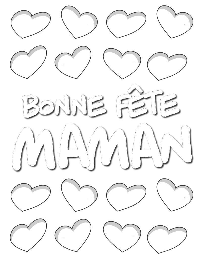 Coloriages Coloriage Coeurs Pour Maman - Fr.hellokids pour Fete Des Meres Dessin