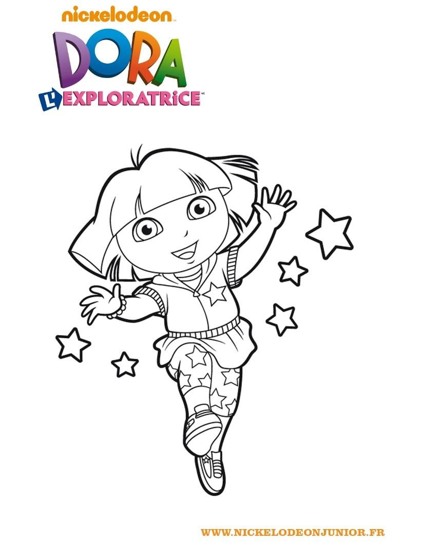 Coloriages Coloriage De Dora Et Les Étoiles - Fr.hellokids destiné Coloriage De Dora En Ligne