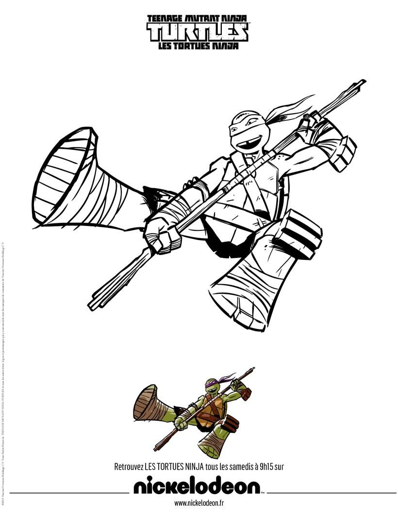 Coloriages Coloriage Donatello - Fr.hellokids pour Coloriage Tortue Ninja À Imprimer