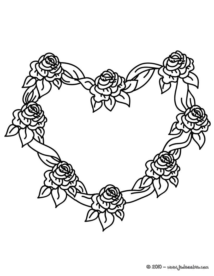 Coloriages Coloriage Gratuit Coeur De Roses - Fr.hellokids avec Dessin De Rose A Imprimer