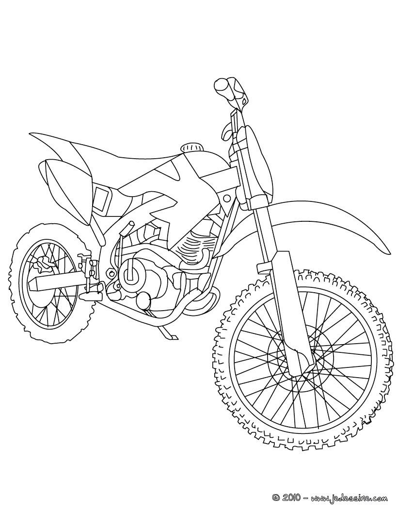 Coloriages Coloriage Moto-Cross Gratuit - Fr.hellokids intérieur Moto Cross A Colorier