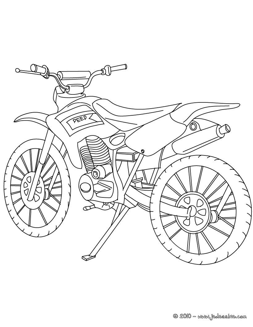 Coloriages Coloriage Moto-Cross Profil - Fr.hellokids encequiconcerne Dessin De Moto Ktm
