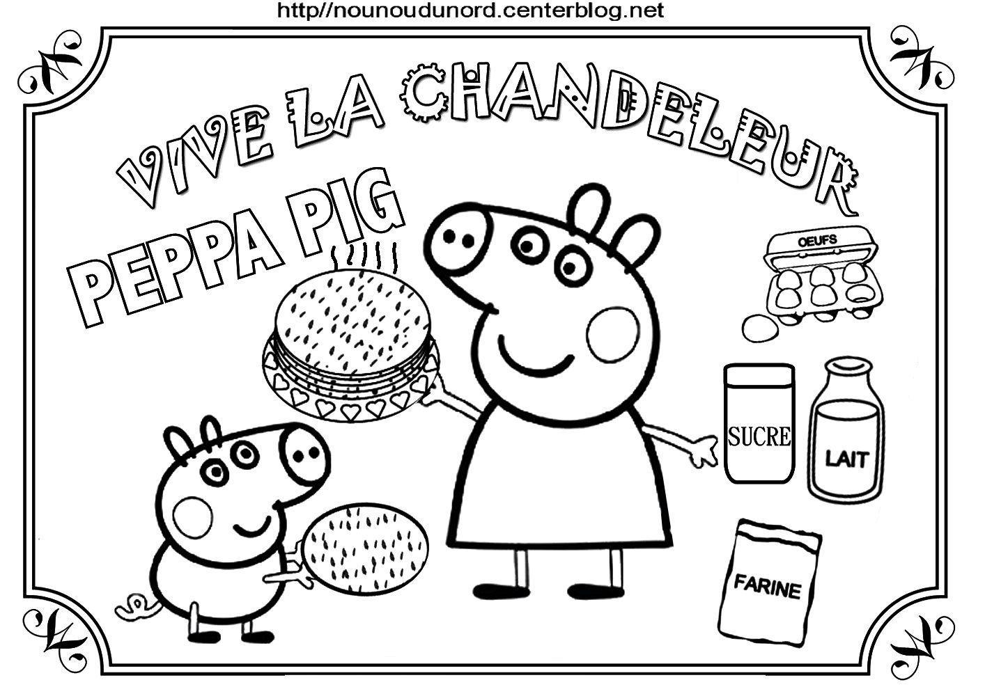 Coloriages Crepes Chandeleur intérieur Coloriage Peppa Pig