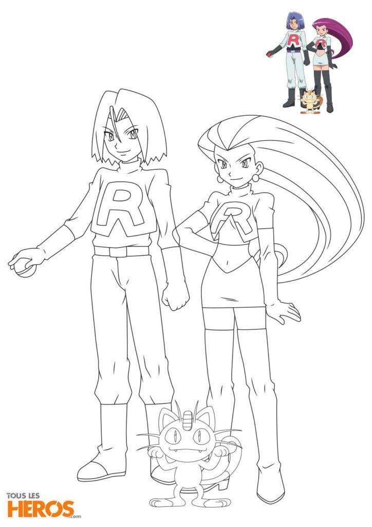 Coloriages De La Team Rocket Avec Jessie, James Et Miaouss encequiconcerne Coloriage Avec Modèle À Imprimer