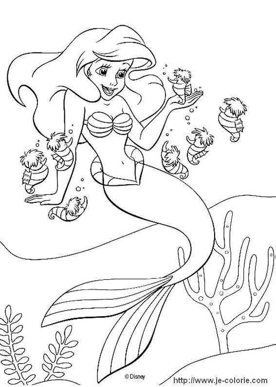 Coloriages La Petite Sirène | Coloriage La Petite Sirene intérieur Dessin A Imprimer Arielle La Petite Sirene