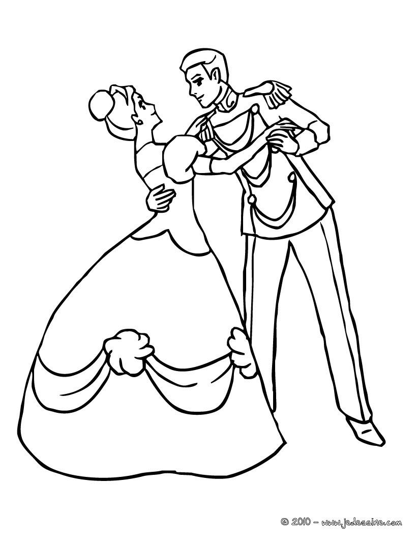 Coloriages La Princesse Et Le Prince Dansent Ensemble - Fr à Coloriage Princesse