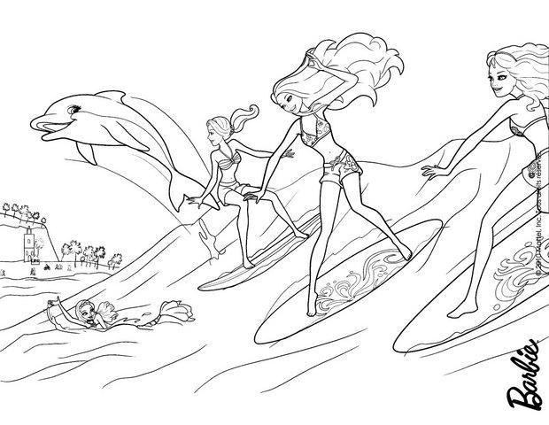 Coloriages Les Surfeuses Et Zuma - Fr.hellokids tout Barbie Sirene A La Plage
