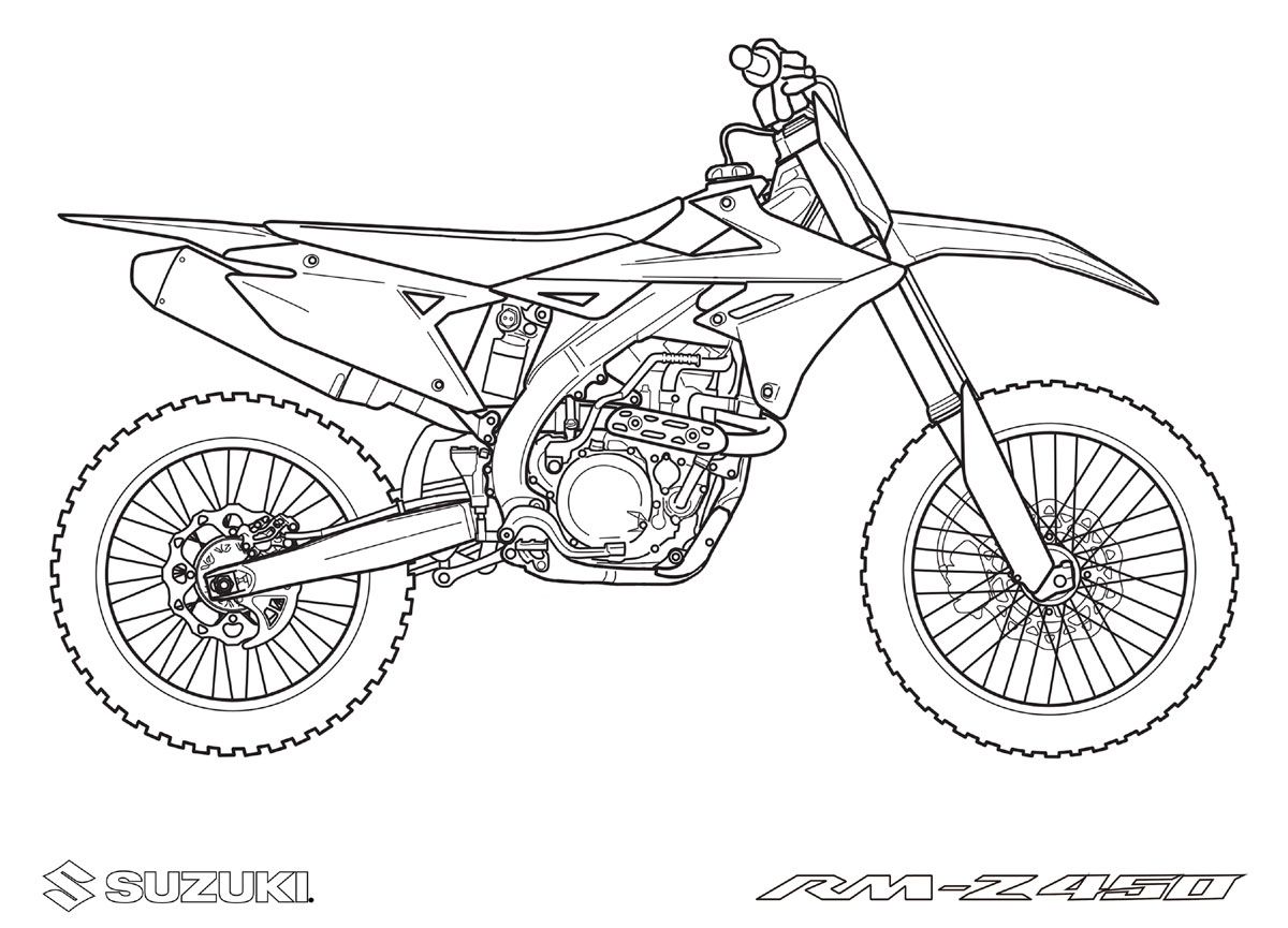 Coloriages Motos À Imprimer Suzuki pour Coloriage De Moto Cross
