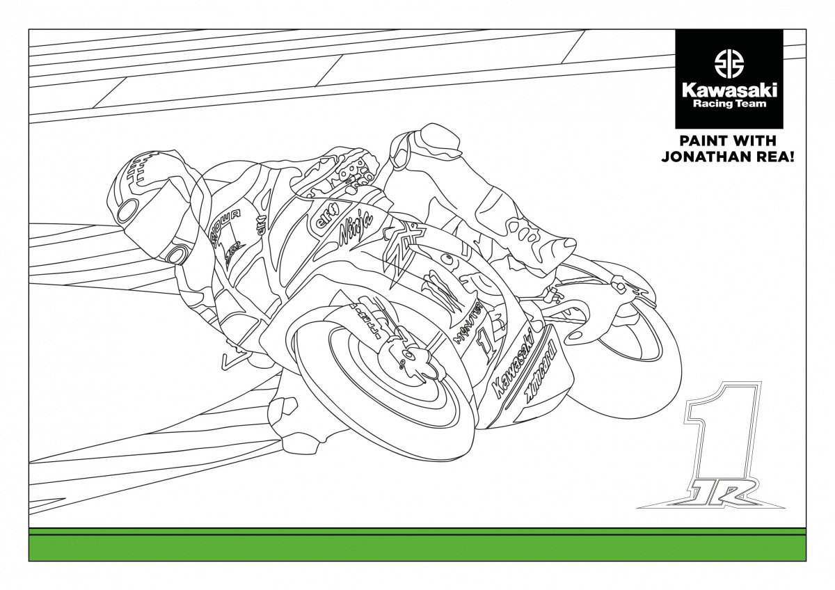 Coloriages Motos Kawasaki à Coloriage Moto