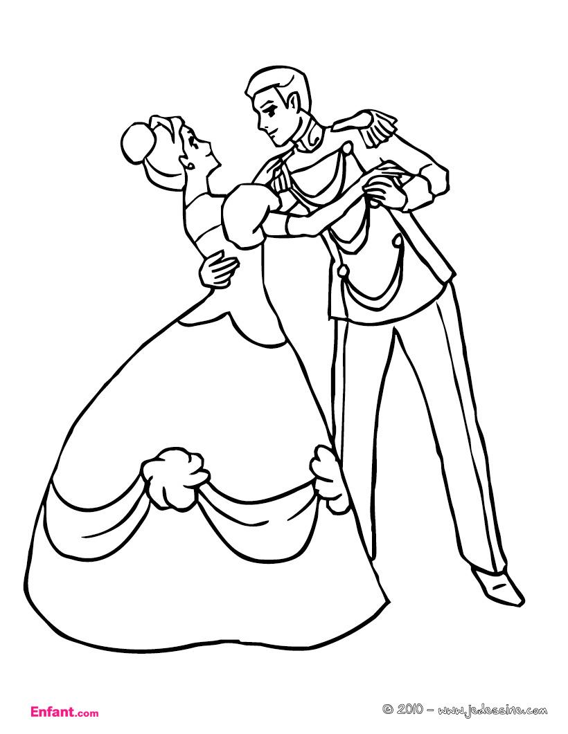Coloriages Pour Fille: La Princesse Et Le Prince pour Coloriage A Imprimer Licorne Et Princesse
