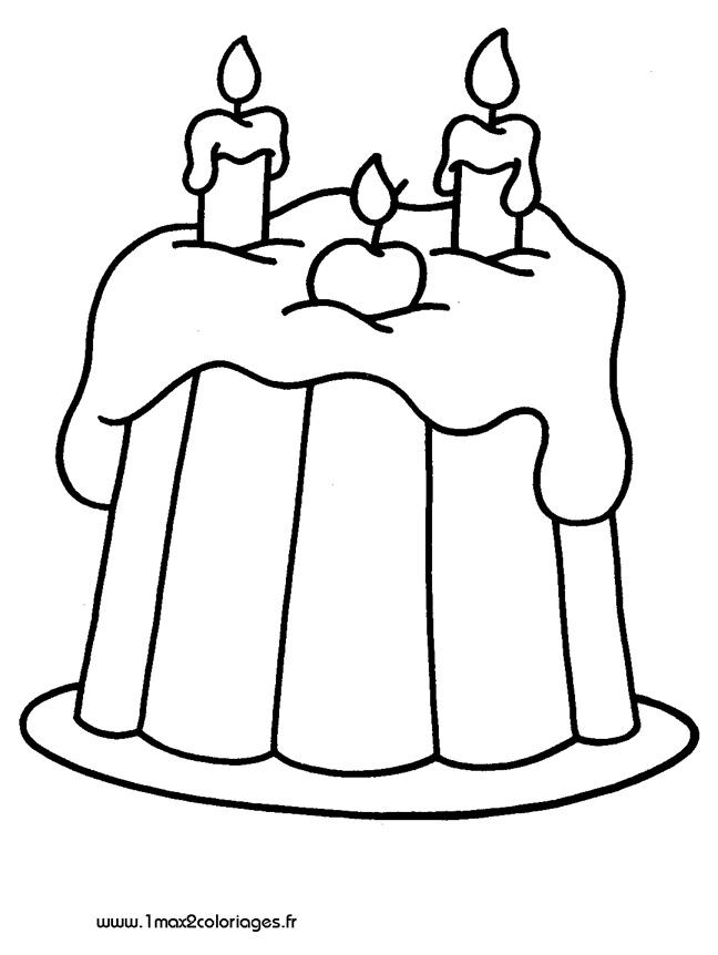 Coloriages Pour Les 3 - 4 Ans - Gateau D'Anniversaire A destiné Coloriage Gâteau D Anniversaire