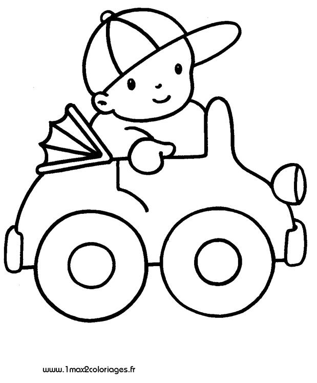 Coloriages Pour Les 3 - 4 Ans - Un Enfant Dans Sa Voiture tout Coloriage Pour Enfant