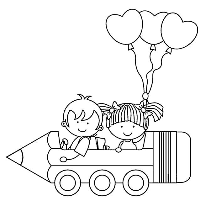 Coloriages Rentrée Des Classes - Des Enfants Et Des Ballons dedans Coloriage De Rentr?E Maternelle