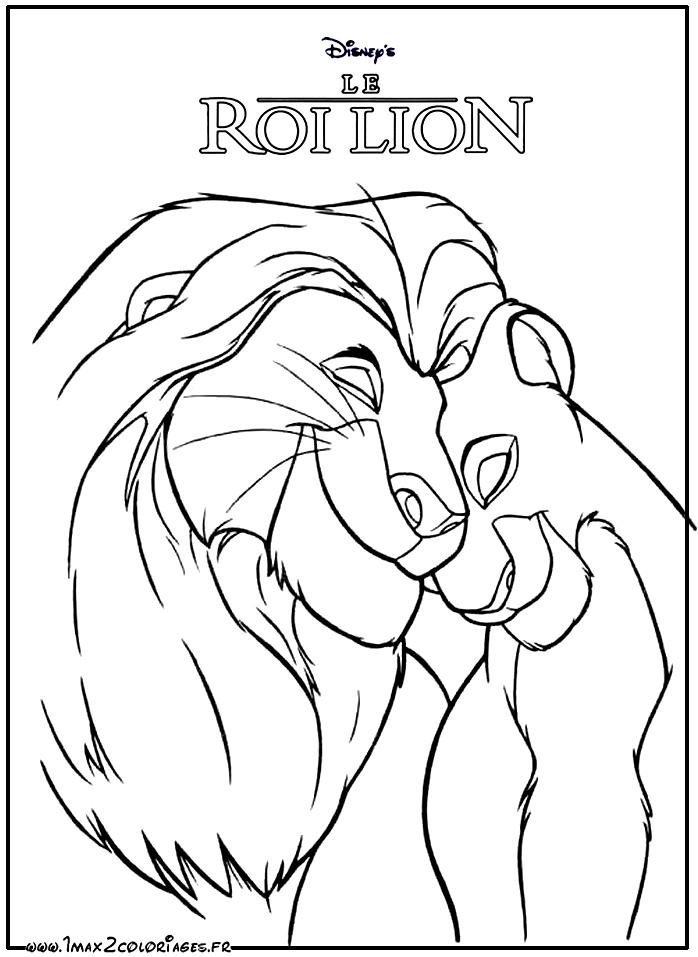 Coloriages Roi Lion De Walt Disney - The Lion King - Simba dedans Lion A Colorier