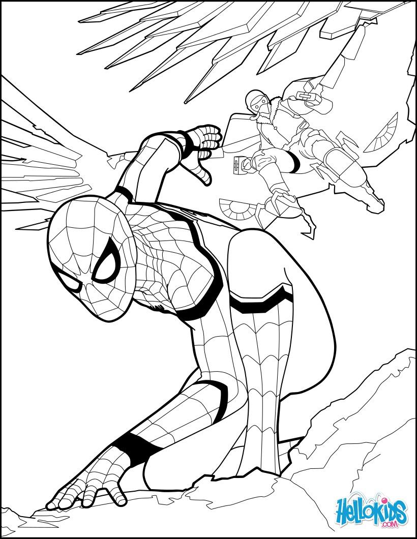 Coloriages Spiderman Homecoming 1 - Fr.hellokids serapportantà Coloriage De Spiderman Noir
