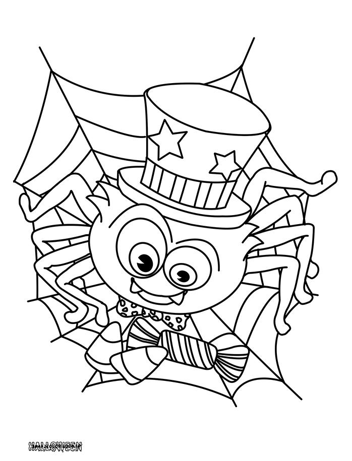 Coloriages Une Araignée D'Halloween A Imprimer intérieur Coloriage Halloween À Imprimer Gratuit